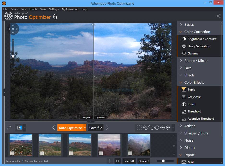 screen capture of Ashampoo Photo Optimizer