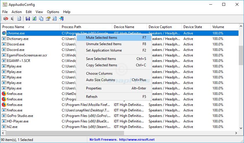 screen capture of AppAudioConfig