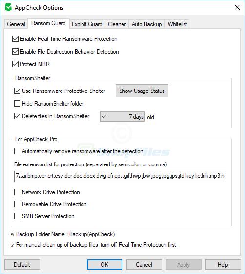 screenshot of AppCheck Anti-Ransomware