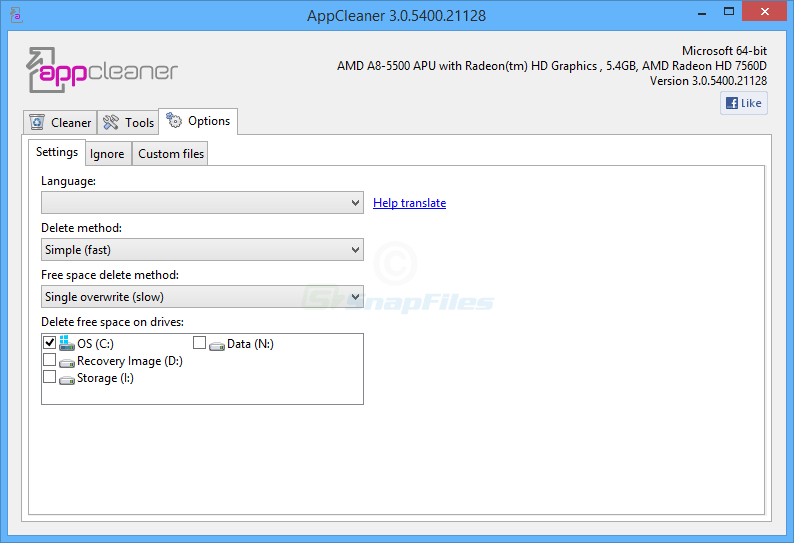 screenshot of AppCleaner