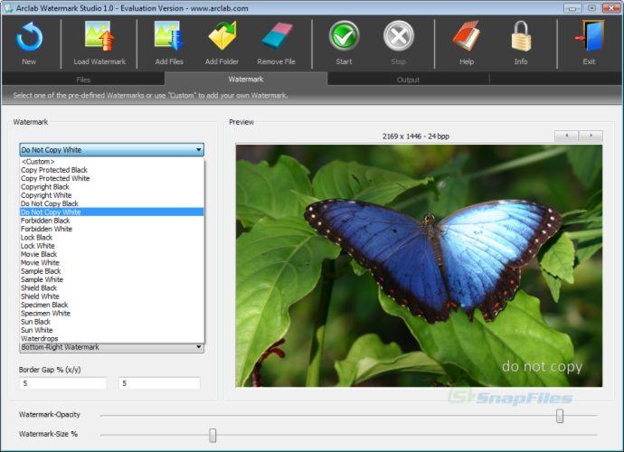 screen capture of Arclab Watermark Studio