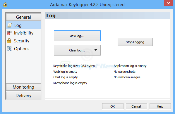screen capture of Ardamax Keylogger