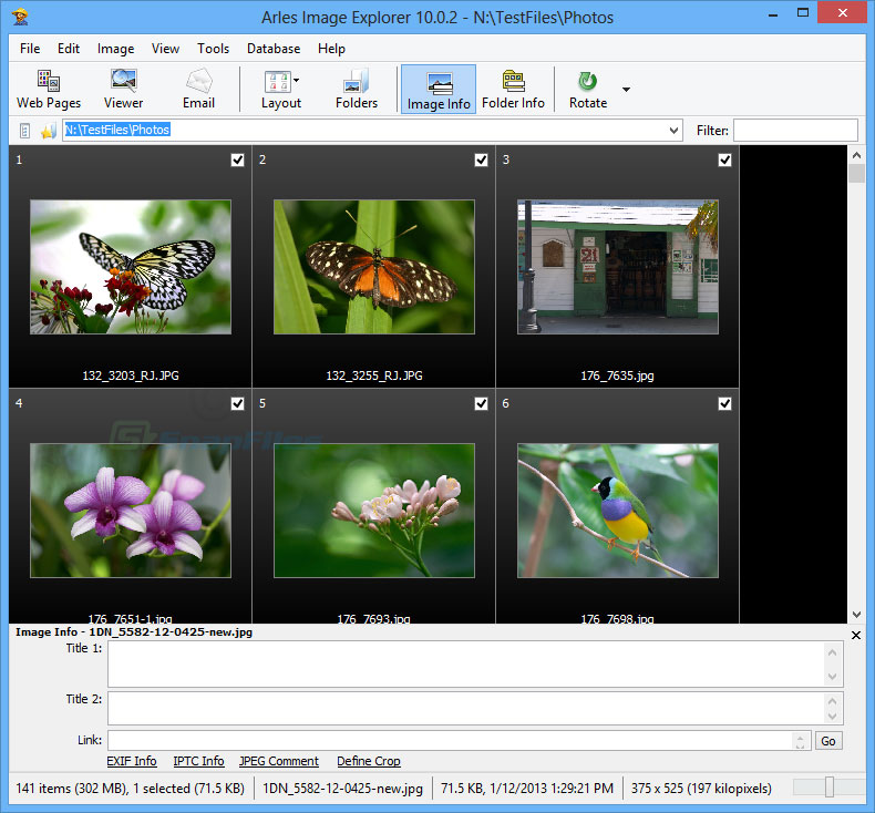 screen capture of Arles Image Web Page Creator