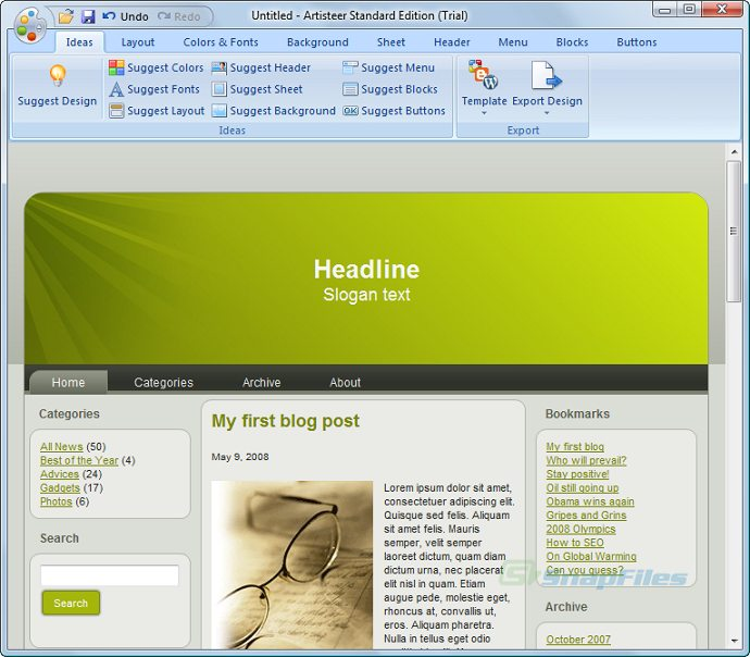 screen capture of Artisteer Web Designer