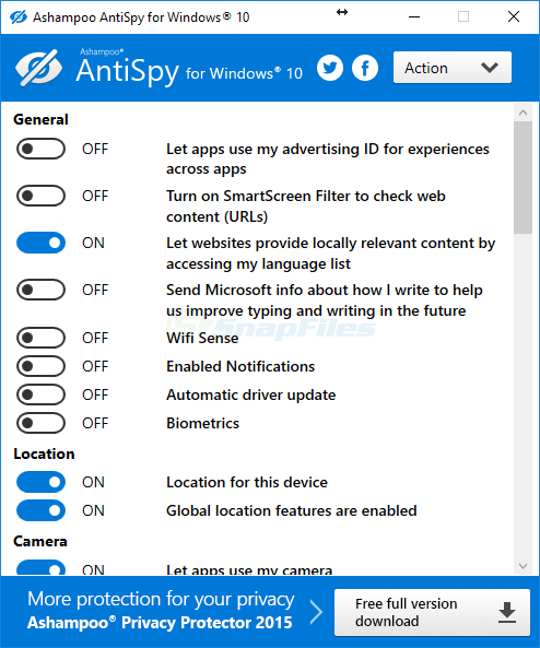 screen capture of Ashampoo AntiSpy