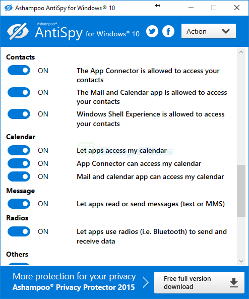 screenshot of Ashampoo AntiSpy