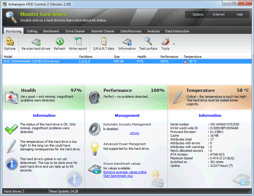 screen capture of Ashampoo HDD Control