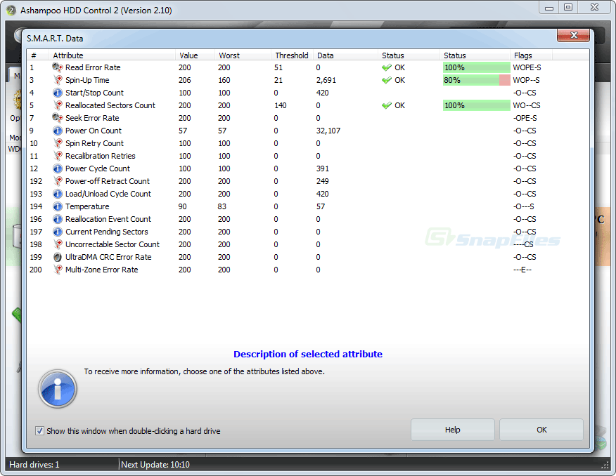 screenshot of Ashampoo HDD Control