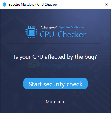 screen capture of Ashampoo  Spectre Meltdown CPU Checker