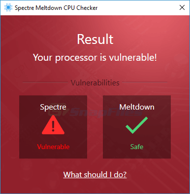 screenshot of Ashampoo  Spectre Meltdown CPU Checker