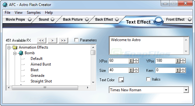 screen capture of ASTRO Flash Creator