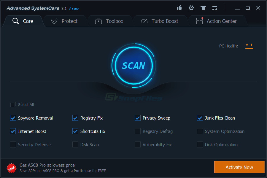 screen capture of Advanced SystemCare Free