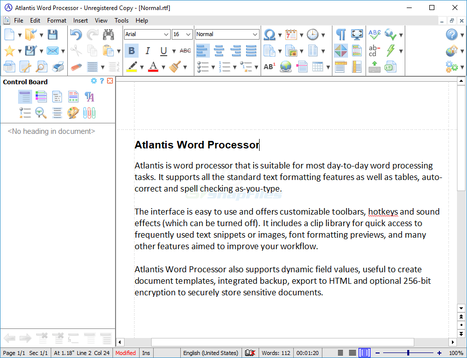 screen capture of Atlantis Word Processor