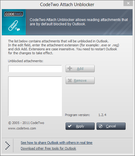 screen capture of CodeTwo Attach Unblocker