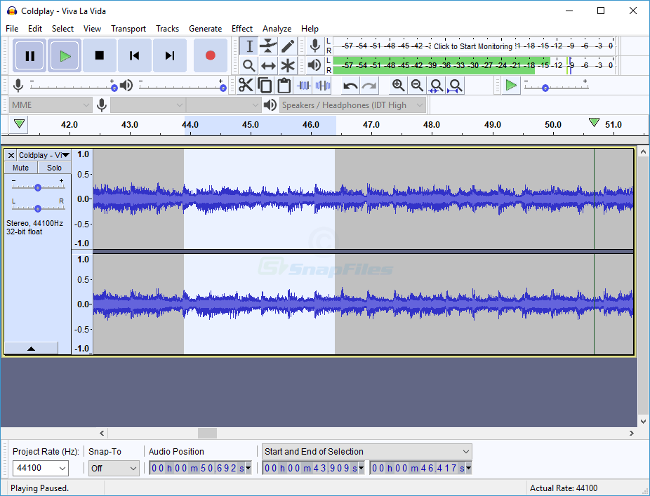 screen capture of Audacity