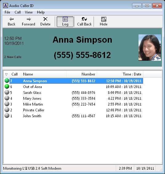 screen capture of Audio Caller ID