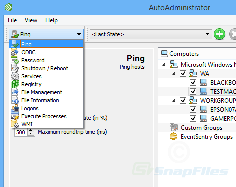screenshot of EventSentry Admin Assistant