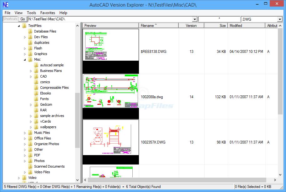 screen capture of AutoCAD Version Explorer