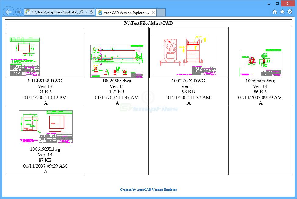 screenshot of AutoCAD Version Explorer