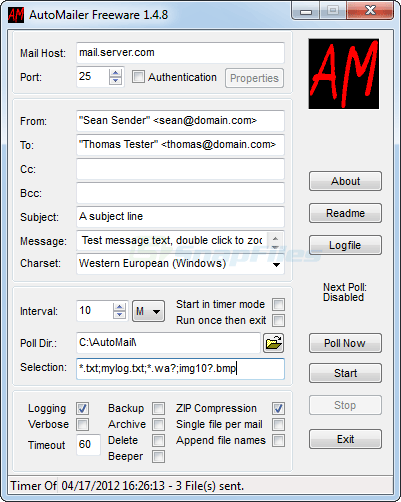 screen capture of AutoMailer Free