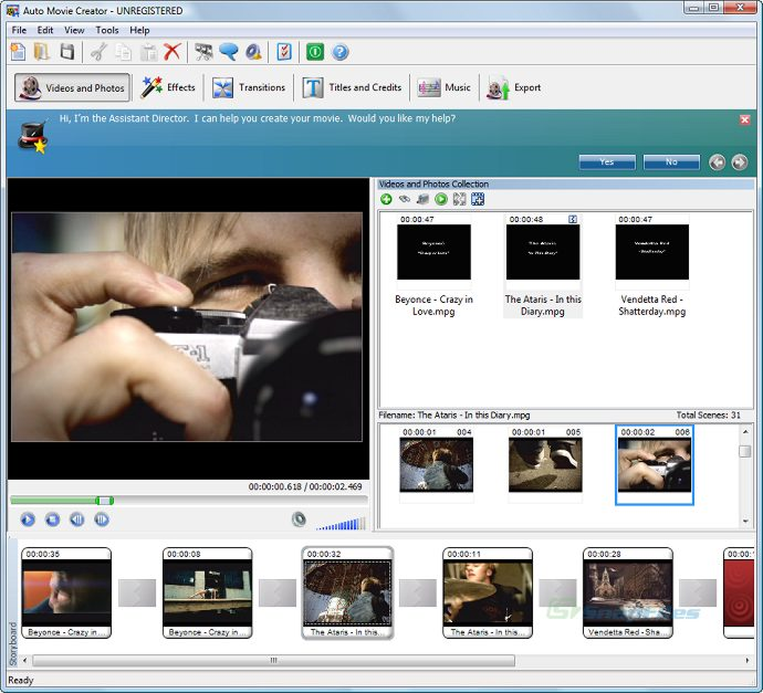 screen capture of Auto Movie Creator