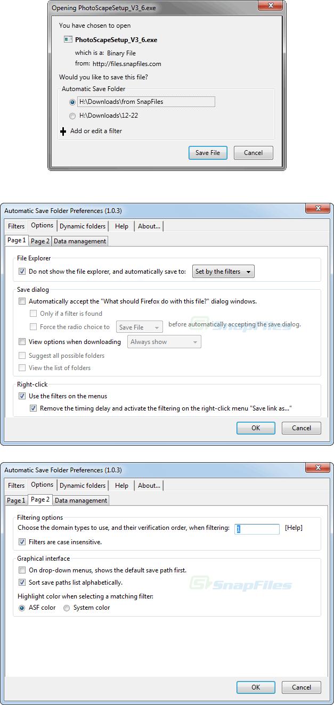screenshot of Automatic Save Folder