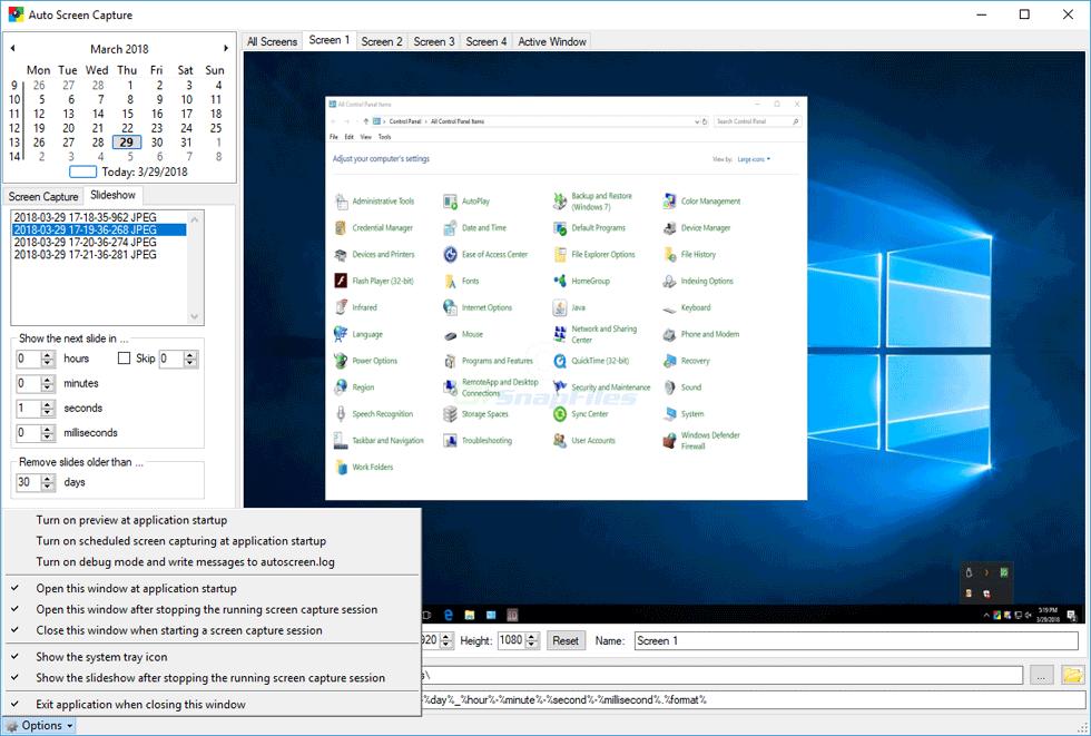 screenshot of Auto Screen Capture