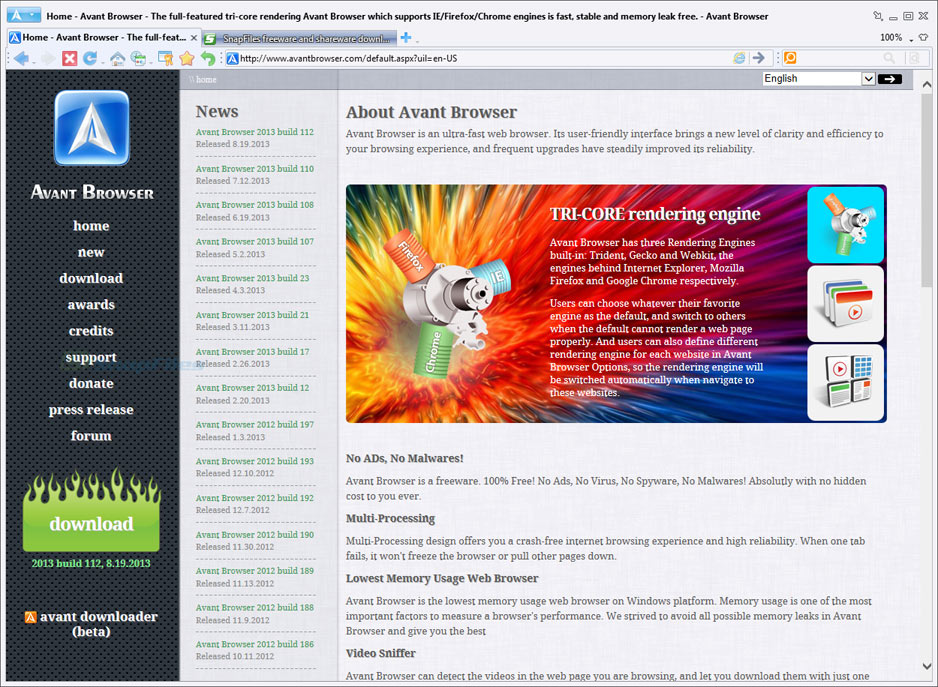 screen capture of Avant Browser