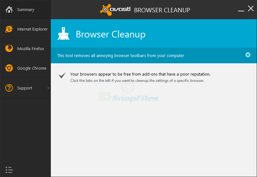 screen capture of Avast Browser Cleanup Tool
