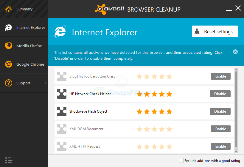 screenshot of Avast Browser Cleanup Tool