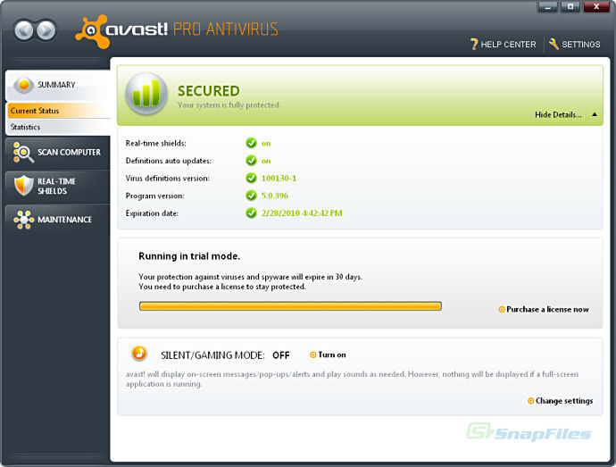 screen capture of avast!  Professional Edition