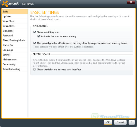 screenshot of avast!  Professional Edition