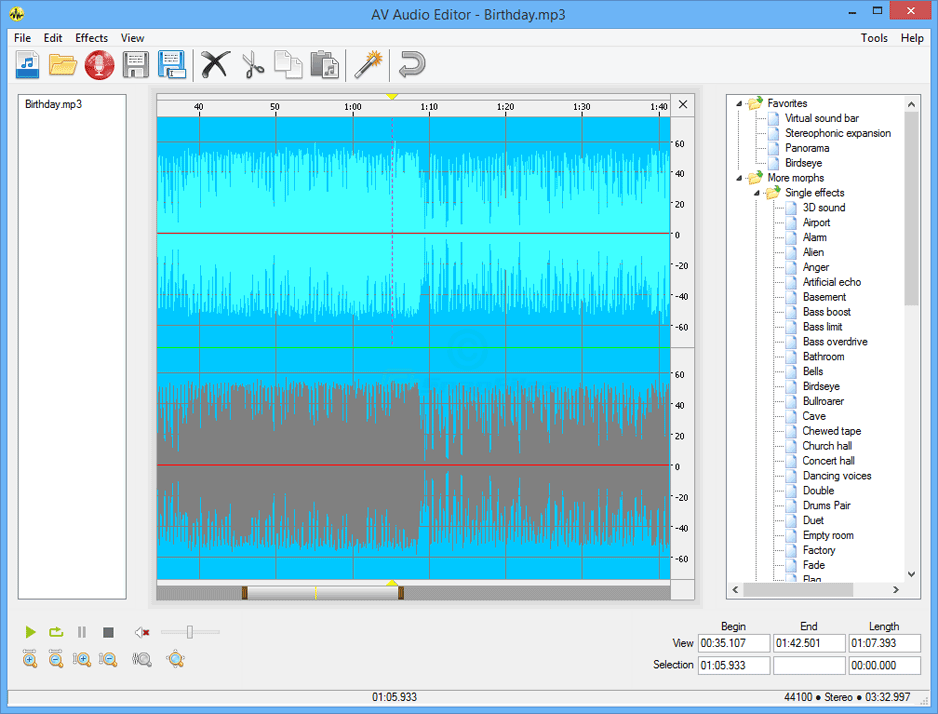 screen capture of AV Audio Editor