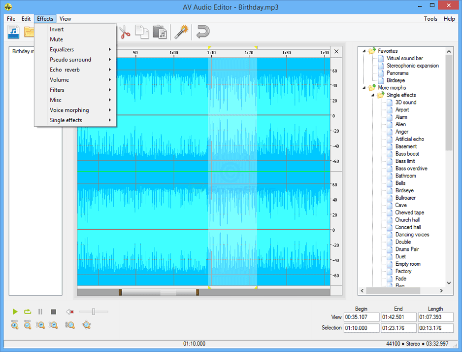 screenshot of AV Audio Editor