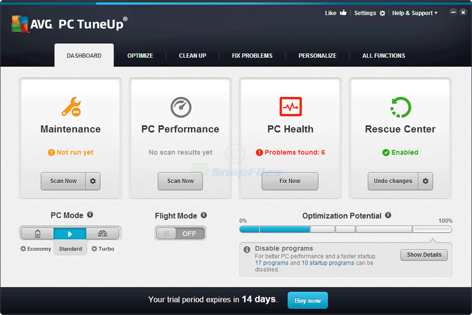 screen capture of AVG PC TuneUP