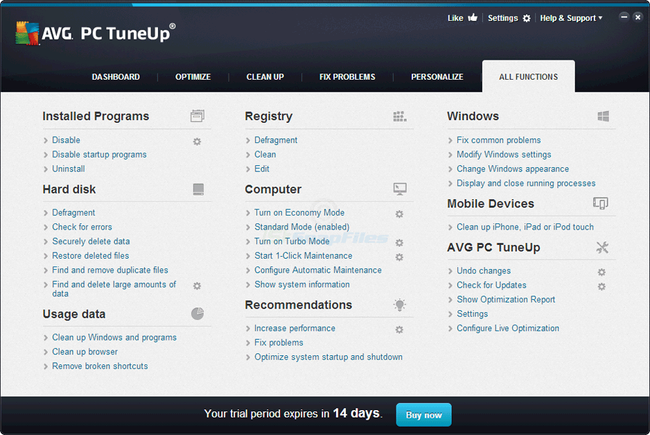 screenshot of AVG PC TuneUP