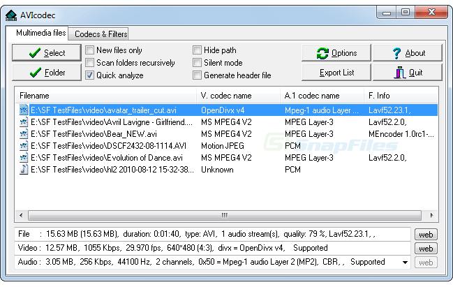 screen capture of AVIcodec