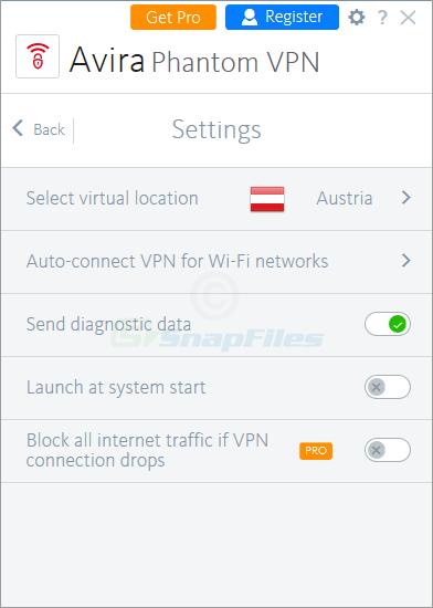 screenshot of Avira Phantom VPN
