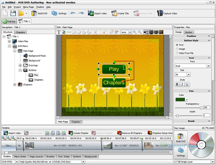 screen capture of AVS DVD Authoring