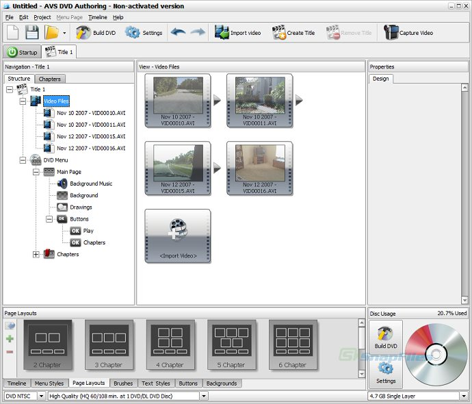 screenshot of AVS DVD Authoring
