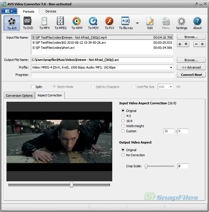 screen capture of AVS Video Converter