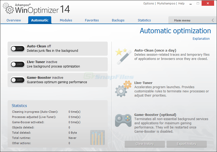 screenshot of Ashampoo WinOptimizer 2018