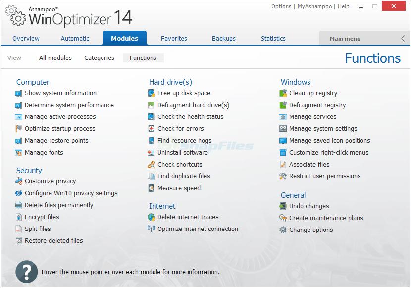 screenshot of Ashampoo WinOptimizer 2019
