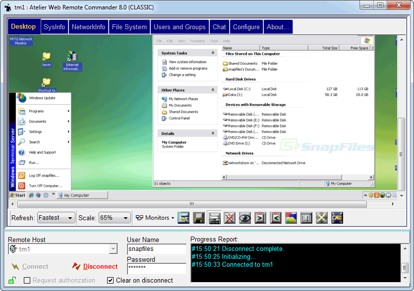 screen capture of Atelier Web Remote Commander