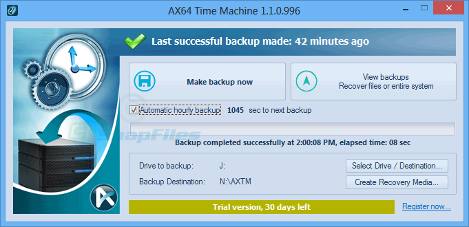 screen capture of AX64 Time Machine