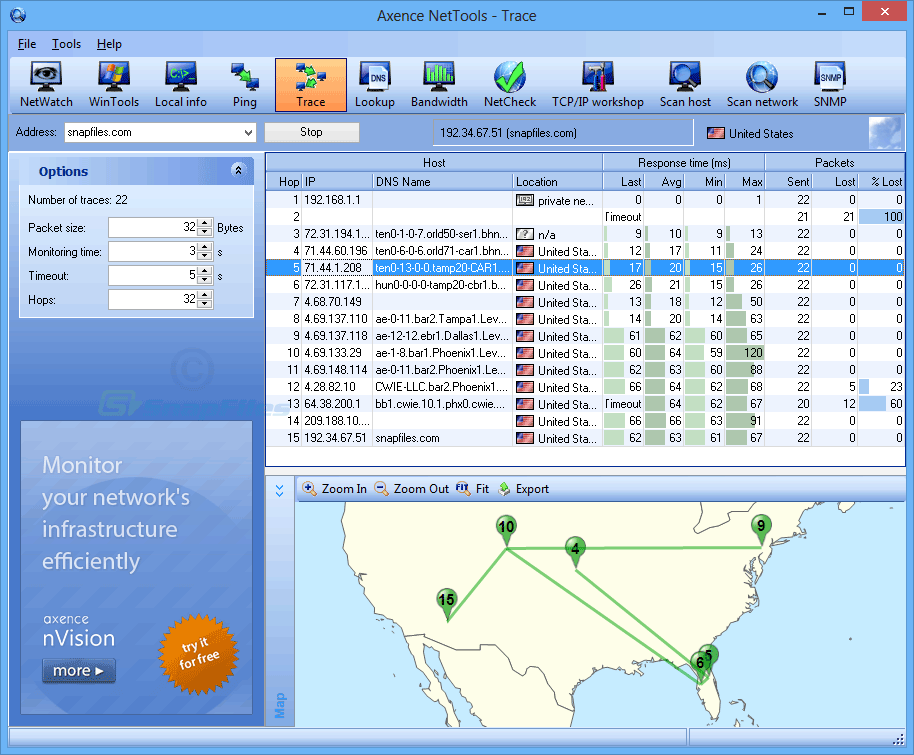 screen capture of Axence netTools