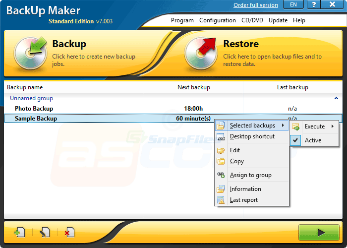 screen capture of BackUp Maker