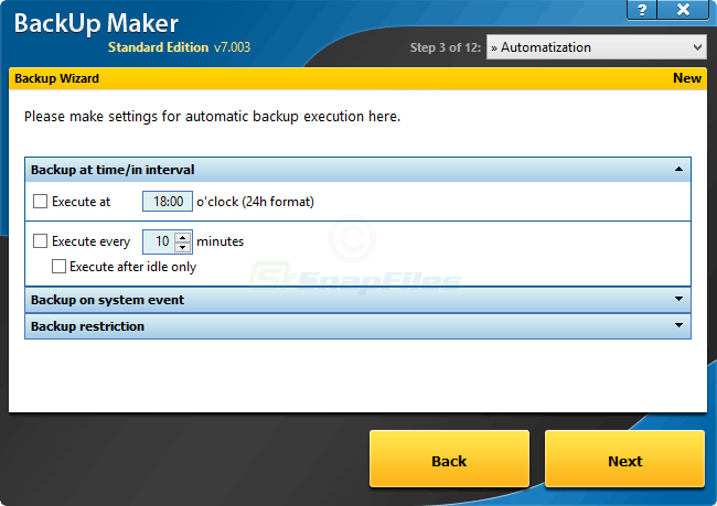 screenshot of BackUp Maker