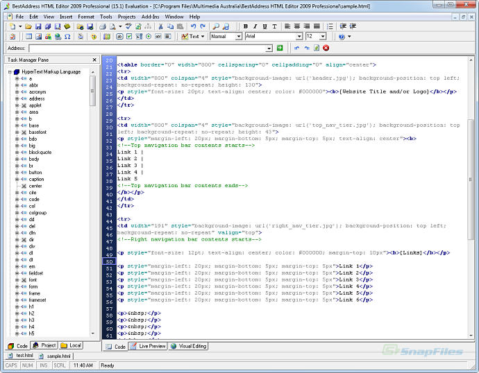 screenshot of BestAddress HTML Editor