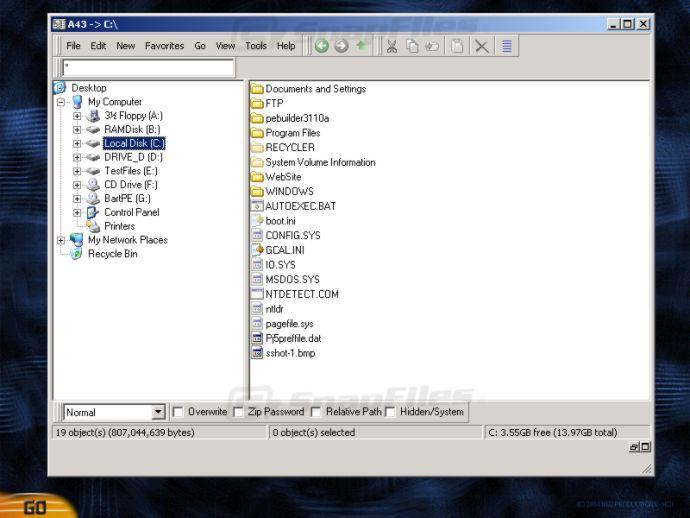 screenshot of BartPE